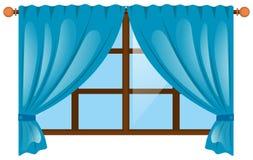 Janela com cortina azul ilustração royalty free