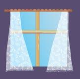 Janela com cortina de laço ilustração stock