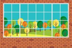 Janela com ilustração lisa do projeto da opinião da paisagem da floresta Fotografia de Stock Royalty Free