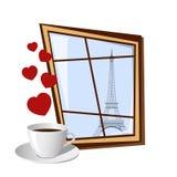 Janela com vista na torre Eiffel Foto de Stock