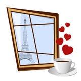 Janela com vista na torre Eiffel Imagem de Stock Royalty Free