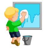 Janela da limpeza da criança ilustração royalty free