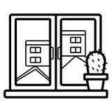Janela da opinião da cidade ilustração do vetor
