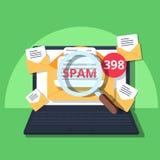 A janela de advertência do email do Spam aparece na tela do portátil Conceito do vírus, da pirataria, do corte e da segurança ilustração royalty free