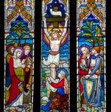 Janela de Jesus Christ Crucifixion Stained Glass imagens de stock royalty free