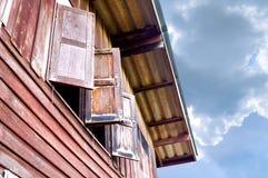 Janela de madeira Fotografia de Stock