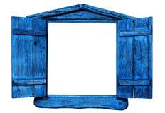 Janela de madeira azul isolada fotografia de stock