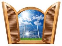 Janela de madeira com painéis solares para dentro ilustração royalty free