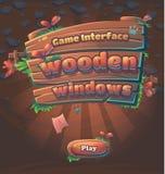 Janela de madeira do jogo da interface de utilizador do jogo ilustração stock