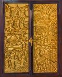Janela de madeira finamente cinzelada no templo budista Foto de Stock Royalty Free