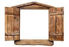 Janela de madeira isolada Fotografia de Stock