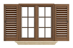 Janela de madeira no branco Fotos de Stock