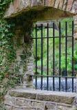 Janela de pedra que negligencia uma cachoeira Imagem de Stock