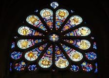 Janela de Rosa em Saint Etienne du Mont Church, Paris imagem de stock