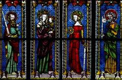 Janela de vidro colorido na catedral de Freiburg, Alemanha Fotografia de Stock Royalty Free