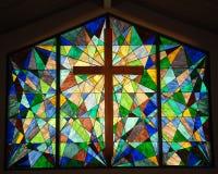 Janela de vidro da mancha com cruz Imagem de Stock