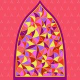 Janela de vitral com tipo diferente de vidros da cor ilustração royalty free