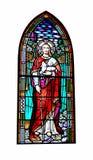 Janela de vitral da igreja de Jesus Christ que guarda um cordeiro imagem de stock