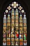 Janela de vitral na catedral em Bruxelas Imagens de Stock