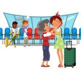 Janela do aeroporto da sala de Witing e fileiras de cadeiras, povos multinacionais no terminal, newspapaer afro-americano da leit Imagens de Stock