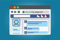 Janela do browser do Internet com um página da web social aberto da rede Isolado no fundo branco Imagens de Stock Royalty Free