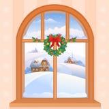Janela do inverno ilustração do vetor