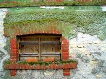 Janela do quadro de madeira em uma construção de tijolo velha coberta com o musgo Fotos de Stock Royalty Free