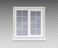 Janela fechado com vidro transparente em um quadro branco isolado em um fundo transparente Vetor ilustração do vetor