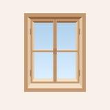 Janela fechado de madeira. ilustração stock