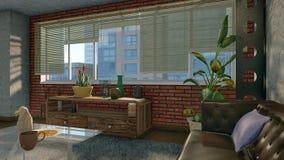 Janela grande no interior moderno do apartamento do sótão Ilustração Royalty Free