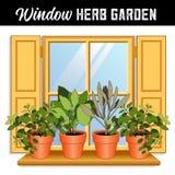 Janela Herb Garden, obturadores do ouro ilustração stock