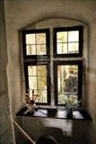 Janela histórica com quadros de madeira do interior - para fora Fotos de Stock