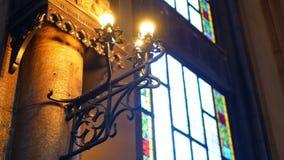 Janela interior da luz da igreja vídeos de arquivo