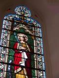 Janela na capela de Loretto na catedral de Santa Fe em New mexico imagens de stock