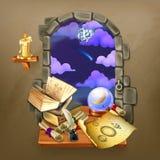 Janela no castelo ilustração royalty free