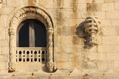 Janela no estilo de Manueline. Torre de Belém. Lisboa. Portugal Imagens de Stock