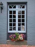 Janela, parede azul-cinzenta Fotografia de Stock Royalty Free