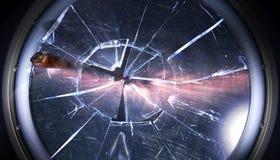 Janela quebrada da estação espacial pela rocha cósmica perto da galáxia ilustração royalty free