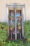 Janela típica bonita do sul da Espanha decorado com os potenciômetros de flor do gerânio com uma parede bonita dos mosaicos cerca fotografia de stock royalty free