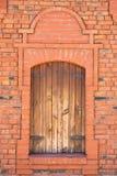 Janela, tijolo, teste padrão, vermelho, velho, casa, construtor foto de stock