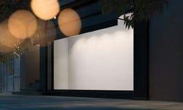 Janela vazia da loja na rua da noite com luz no quadro rendição 3d ilustração stock