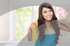 Janelas da limpeza da mulher Fotos de Stock Royalty Free