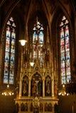 Janelas de vidro colorido na catedral católica Imagem de Stock Royalty Free