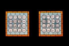 Janelas de vitral no castelo de Corvin, Romênia Fotografia de Stock