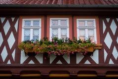 Janelas decoradas em Wernigerode, Alemanha Fotos de Stock Royalty Free