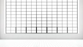 Janelas panorâmicos enormes da sala de reunião moderna vazia, assoalho de madeira branco pintado natural, paredes vazias Interior Fotos de Stock Royalty Free