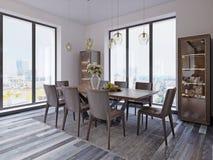 Janelas panorâmicos na sala de jantar luxuosa com tabela de madeira e as cadeiras de couro ao lado das lâmpadas de suspensão da m ilustração do vetor