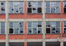 Janelas quebradas Fotografia de Stock Royalty Free