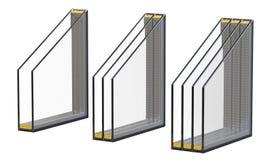 Janelas triplas e quádruplas dobro vitrificação isolada 3D rendem, isolado no fundo branco Imagens de Stock Royalty Free