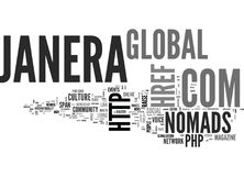 Janera Global Nomads Global Culture Magazine Txt Word Cloud Concept Royalty Free Stock Photos